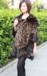 coffee lady's mink fur coat with rose flower