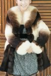 rex rabbit fur coat with fox collar