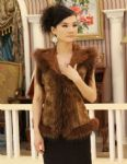 double faced rabbit fur waistcoat with raccoon fur